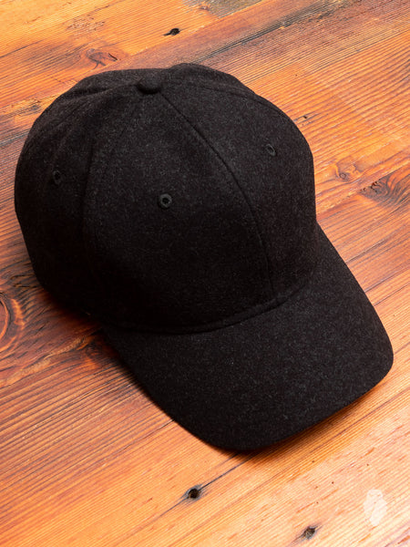 Stretch Twill 6-Panel Hat in Melange Black
