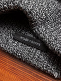 Wool Knit Watch Cap in Melange Black