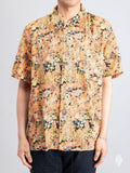 Box Short Sleeve Shirt in Red Plants Print