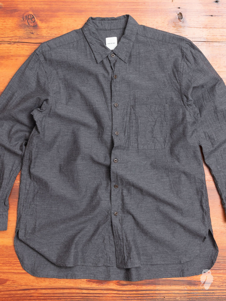 Regular Collar Longshirt in Charcoal
