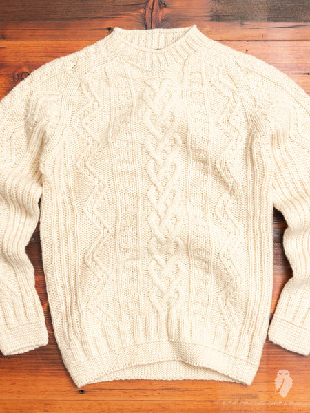 """Super Cult"" Cable-Knit Wool Sweater in Cream"