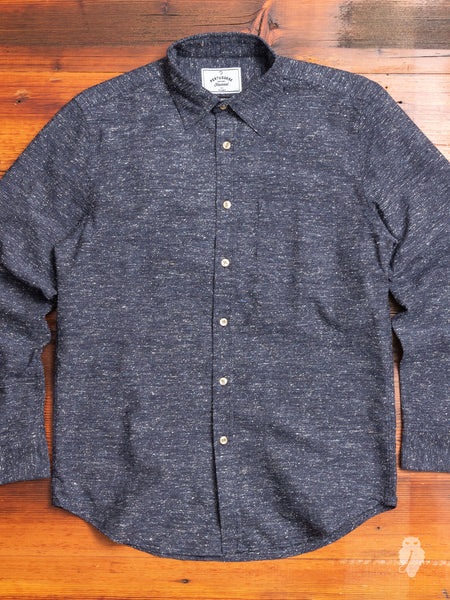 Slub Button-Up Shirt in Blue