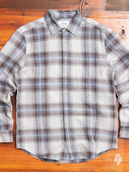 Rude Check Button-Up Shirt in Taupe