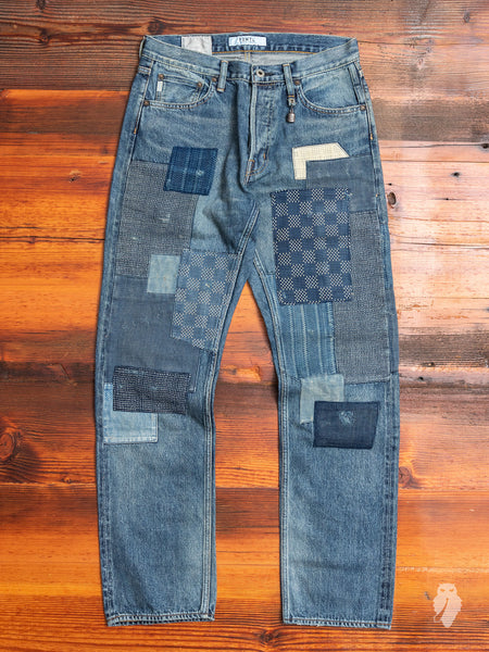 Patchwork Repair Selvedge Denim in Used Indigo