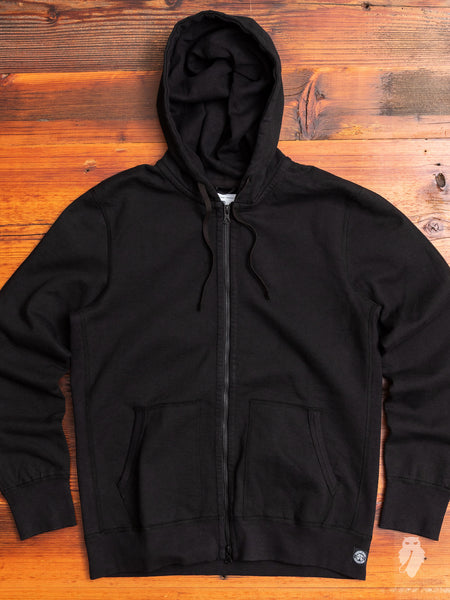 Heavyweight Fleece Full Zip Hoodie in Black