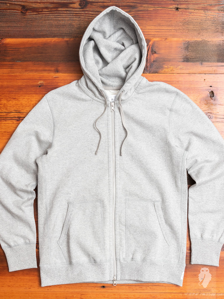 Heavyweight Fleece Full Zip Hoodie in Heather Grey