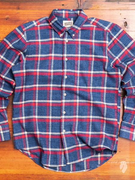 """Northern Brushed Flannel"" Button Down Shirt in Blue/Red"