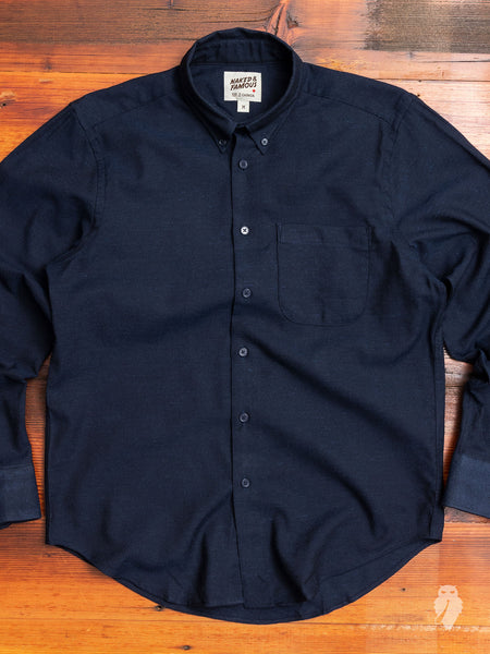 """Silk Nep Twill"" Button Down Shirt in Navy"