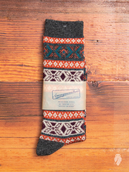 Fair Isle Sock in Charcoal