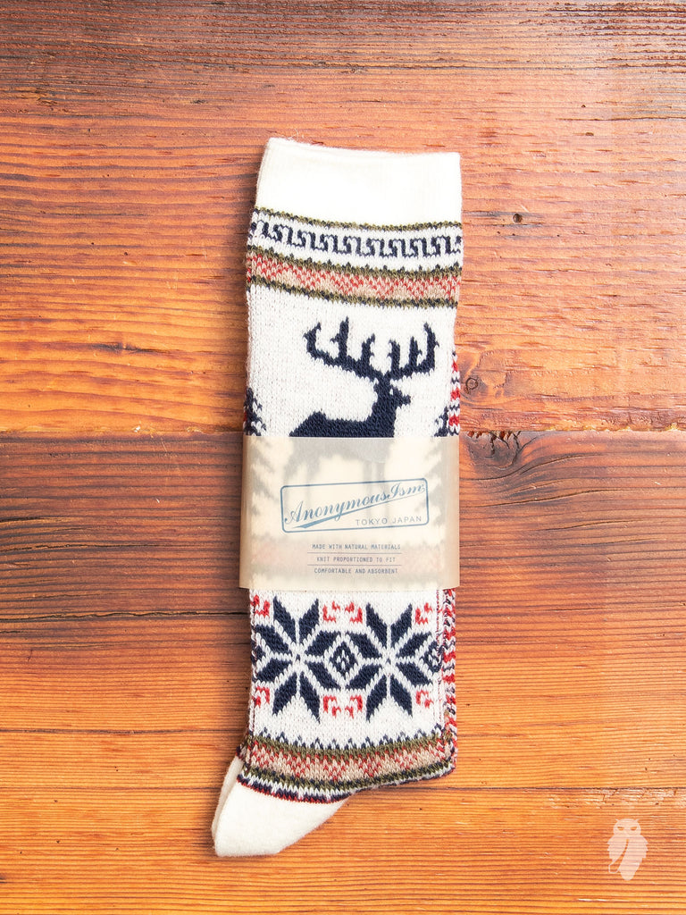 Deer Crew Sock in White