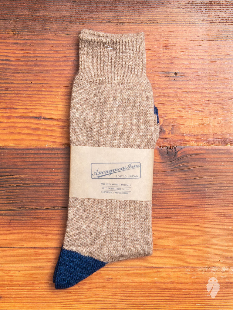 Cashmere Crew Sock in Beige