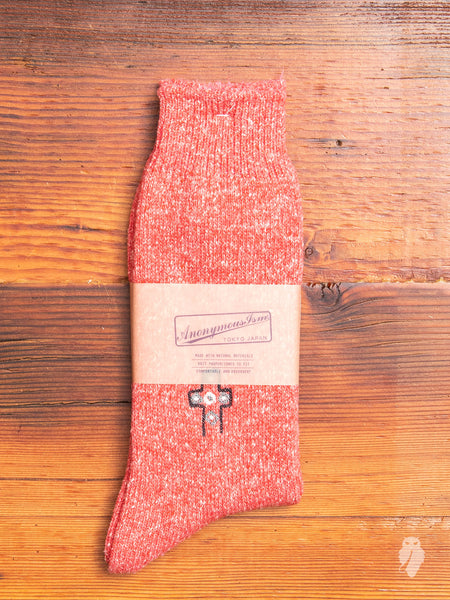 Mexican Embroidery Crew Sock in Pink