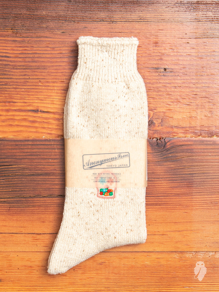 Mexican Embroidery Crew Sock in Beige