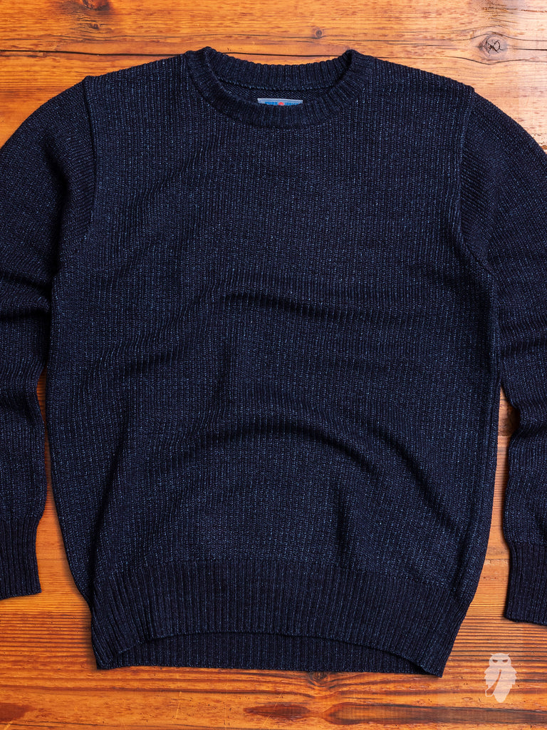 Yarn-Dyed Knit Crewneck Sweater in Indigo