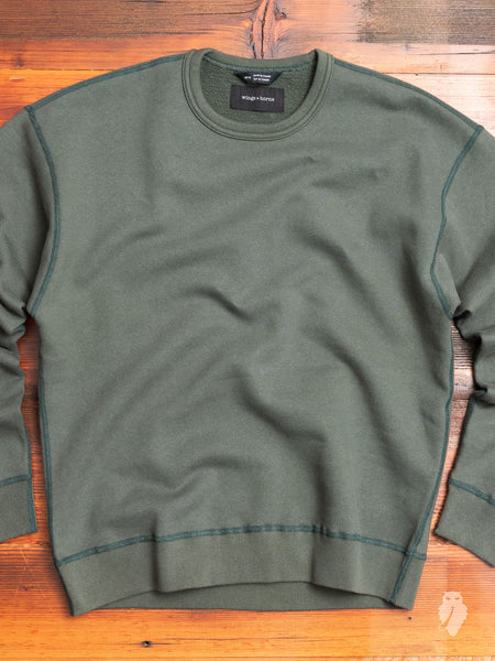 Relaxed Fleece Crewneck Sweater in Pine
