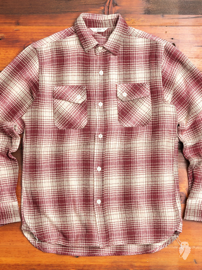 Crosscut Flannel in Brushed Red/Cream