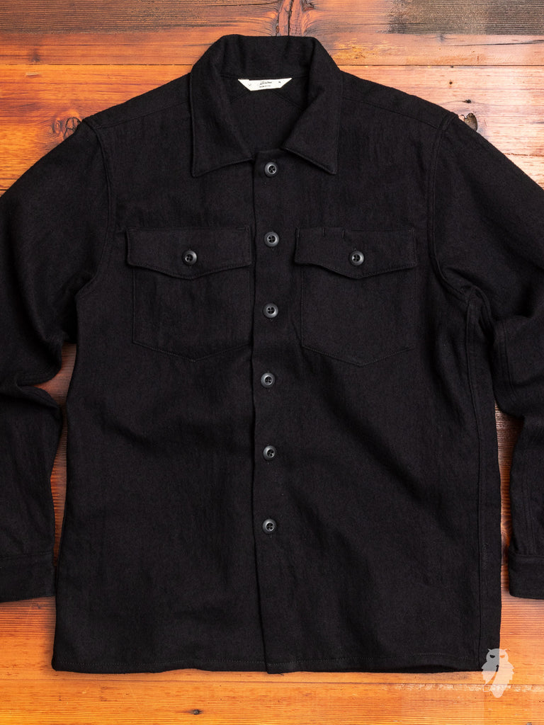 Fatigue Overshirt in Black Boiled Wool