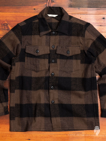 Fatigue Overshirt in Brown Buffalo Check