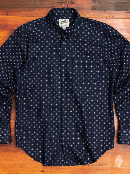 """Kimono Plus"" Button Down Shirt in Indigo"