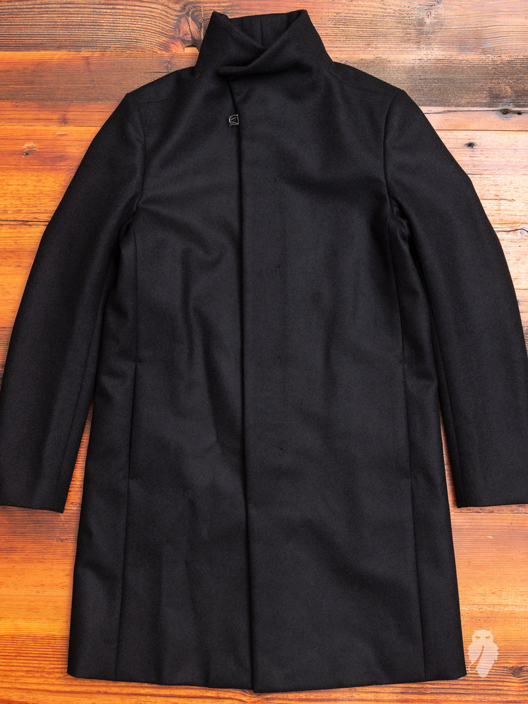 Cashmere Melton Stand Collar Coat in Black