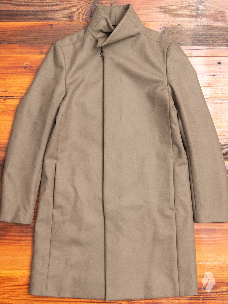 Cashmere Melton Stand Collar Coat in Khaki