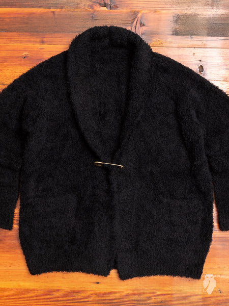 Chenille Knit Stole Collar Cardigan in Black Wool