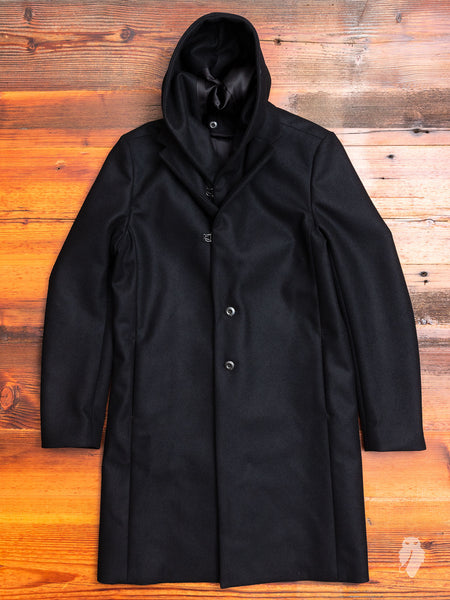 Cashmere Melton Hooded Chesterfield Coat in Black