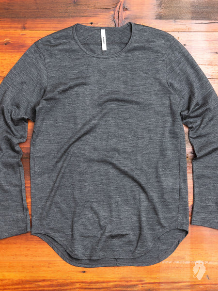 Wool Long Sleeve T-Shirt in Charcoal Melange