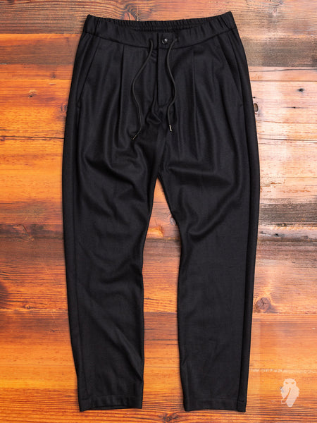 Wool Flannel Easy Pants in Black