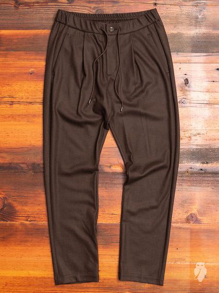 Wool Flannel Easy Pants in Brown