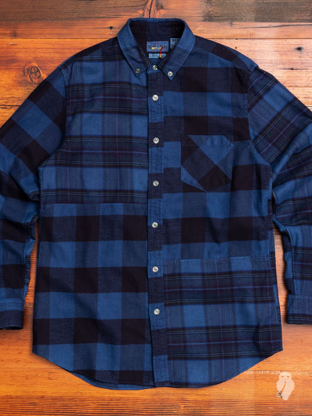 Checkered Button-Down Shirt in Indigo