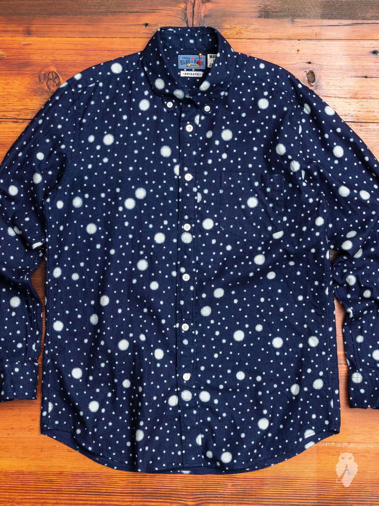 """Snow Bassen"" Button-Down Shirt in Indigo"