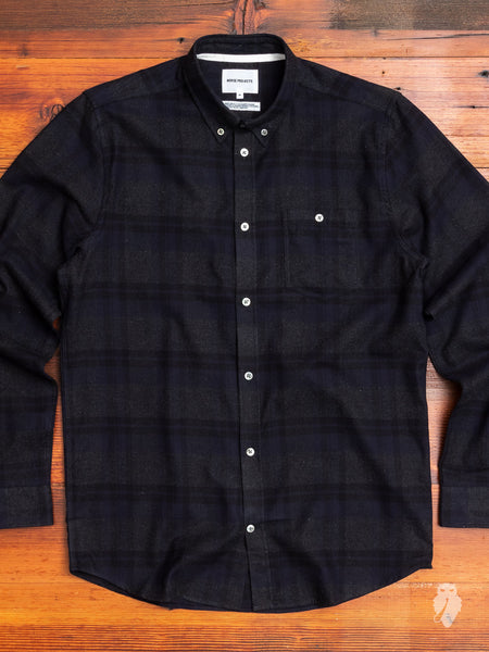 Anton Brushed Flannel in Dark Navy