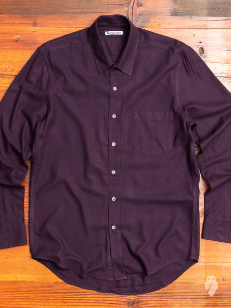 Classic Shirt in Plum Silk Noil
