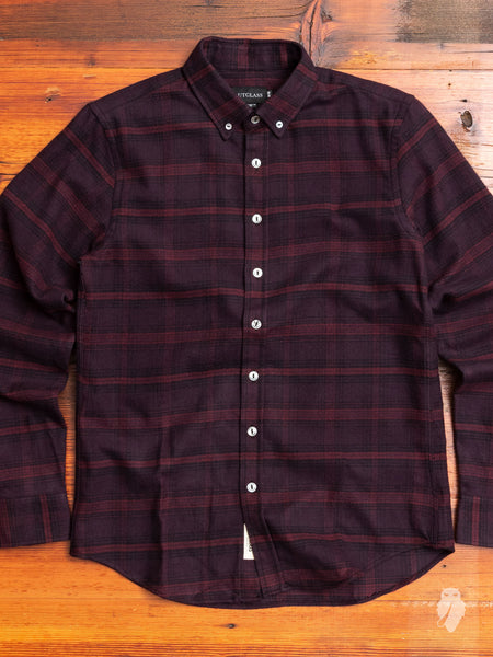 Brushed Flannel Button-Down Shirt in Maroon