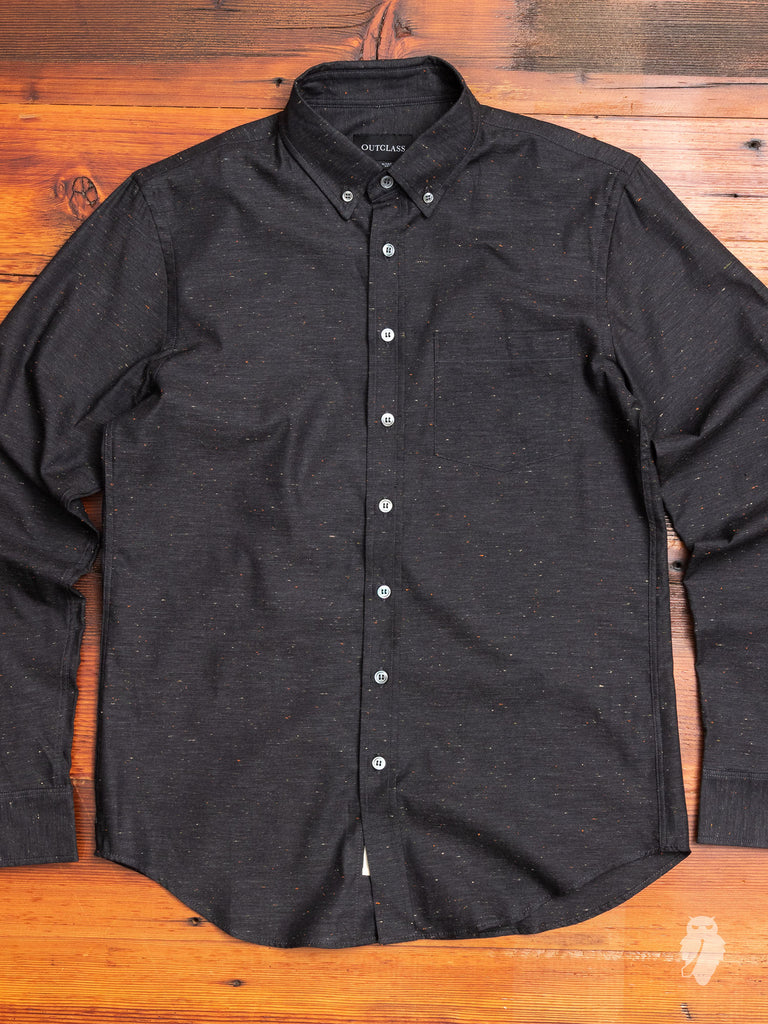 Flecked Button-Down Shirt in Dark Grey