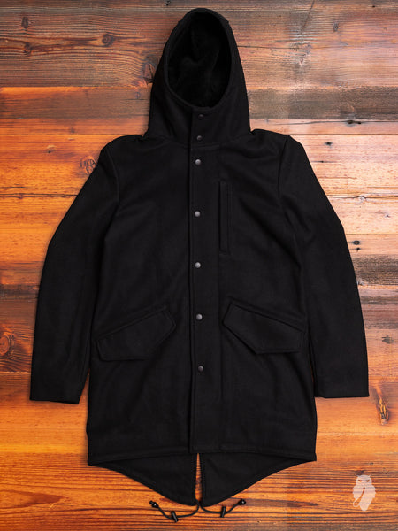 Wool Fishtail Parka in Black