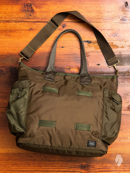"""Force"" 2-Way Tote Bag in Olive Drab"