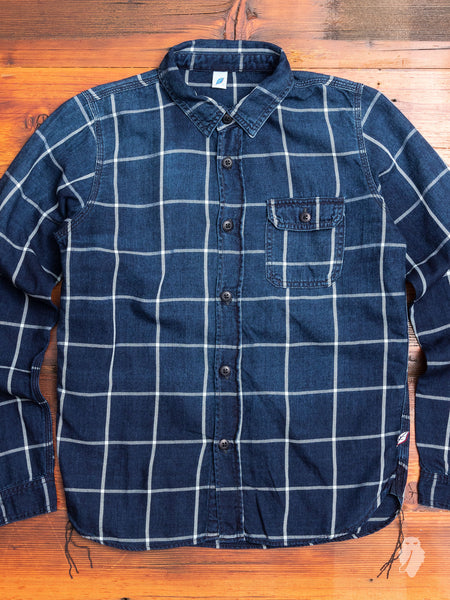Sunburned Check Shirt in Indigo