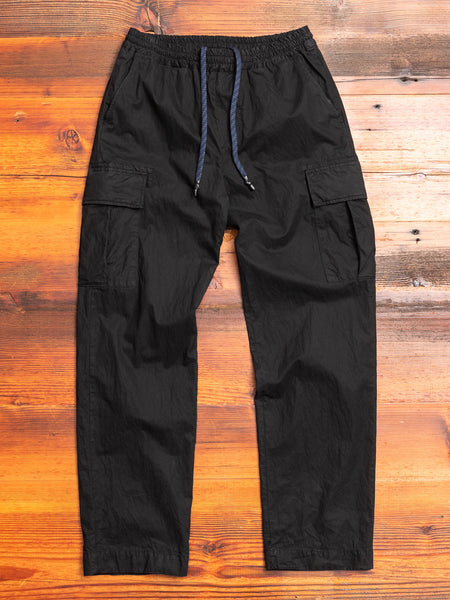 Garment Dyed Cargo Trousers in Black