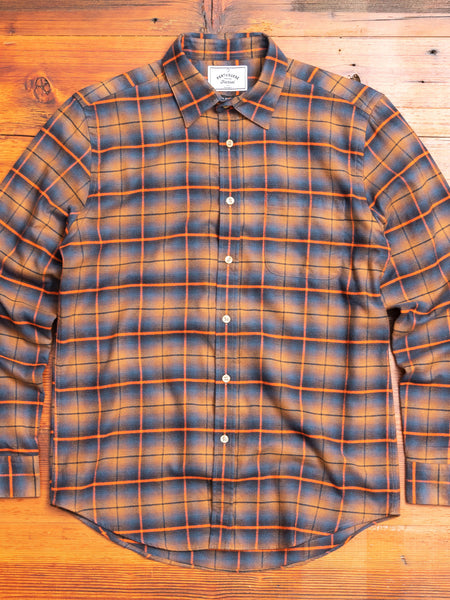 Shadow Check Button-Up Shirt in Orange
