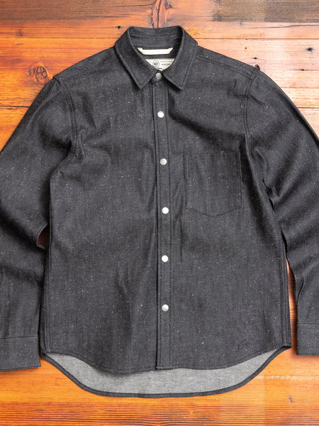 """Oxford Shirt"" in Neppy Black Denim"