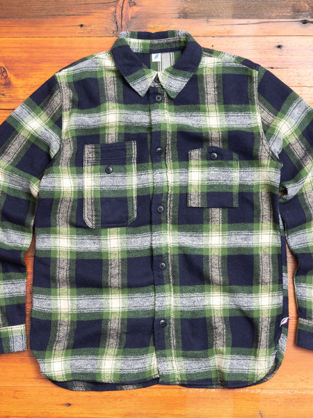 Indigo Check Flannel Work Shirt in Green