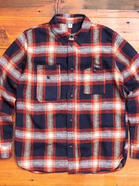 Indigo Check Flannel Work Shirt in Red