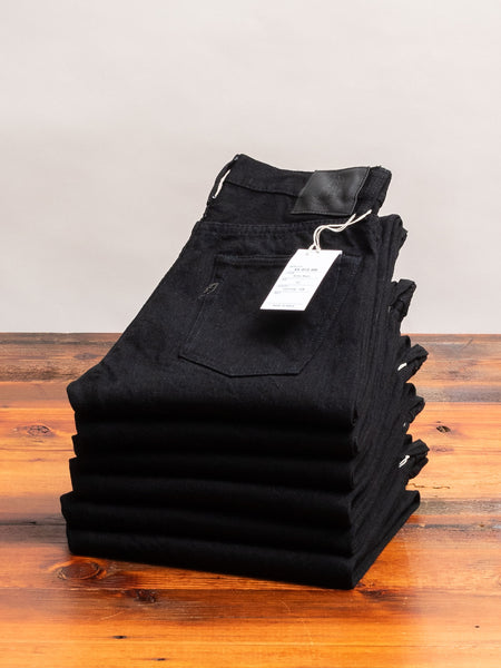 XX-013-BB 14oz Rinsed Black Selvedge Denim - Slim Tapered Fit