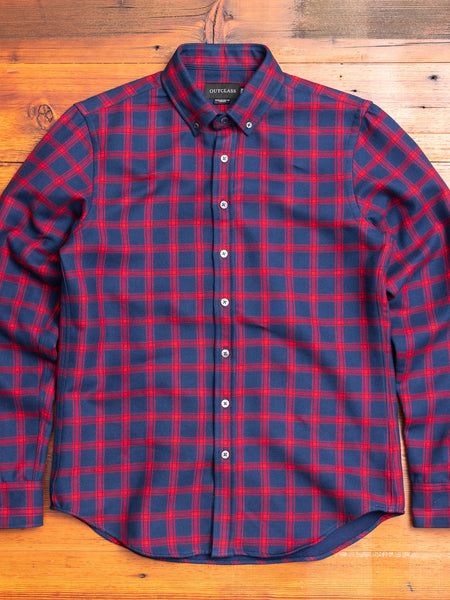 Double-Sided Flannel Button-Down Shirt in Navy