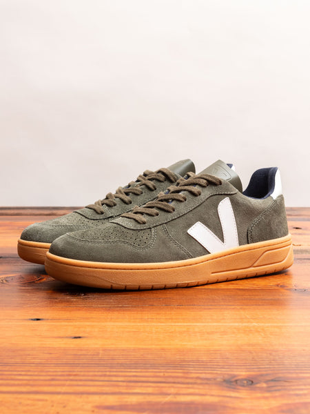 V-10 Gum Sole Sneaker in Mud Suede