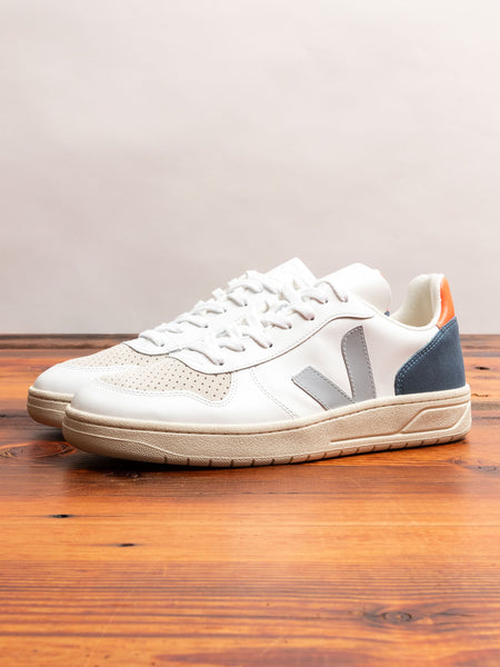V-10 Leather Sneaker in Oxford Grey Orange Fluo