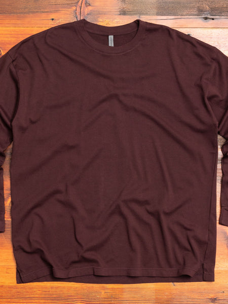 Cotton Jersey Relaxed Long Sleeve T-Shirt in Burgundy