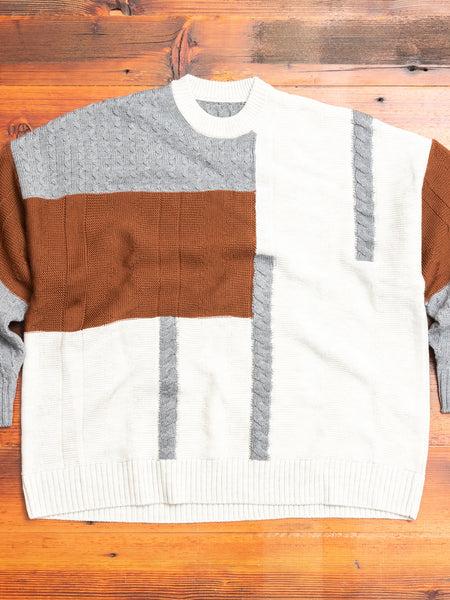 Patchwork Knit Crewneck Sweater in Brown